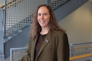 """Mary Bernstein, professor of sociology in the College of Liberal Arts and Sciences and author of the book """"The Marrying Kind: Debating Same-Sex Marriage Within the Lesbian and Gay Movement,"""" talks about the recent Supreme Court decisions surrounding gay marriage. (Brianna Diaz/UConn Photo)"""
