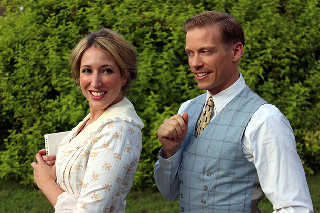 Barrett Foa, who plays Eric Beale on the hit TV series NCIS: Los Angeles, as Harold Hill alongside Courtney Balan, who plays Marian the Librarian, in the American musical classic, The Muicn Man, the final show in CRT's Nutmeg Summer Series. (Bob Copley for UConn)