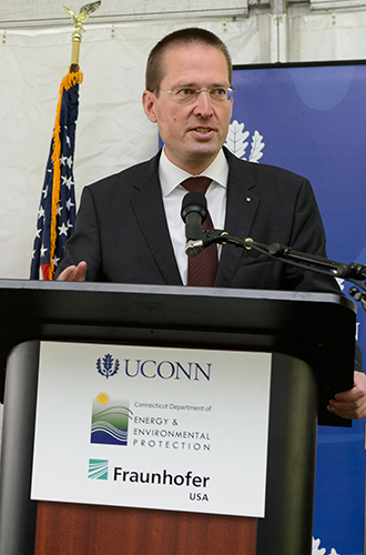 Fraunhofer USA President Georg Rosenfeld speaks during the event. (Peter Morenus/UConn Photo)