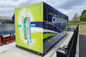 The natural gas fuel cell outside the Center for Clean Energy Engineering at UConn's Depot campus. (Peter Morenus/UConn Photo)