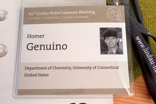 A UConn Ph.D. student in chemistry was invited to attend the Lindau conference in Germany, with the opportunity to meet face-to-face with more than 30 Nobel laureates in the sciences. (Homer Genuino/UConn Photo)