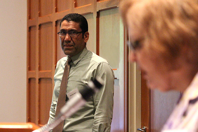 Sharon Harris, Director of the Humanities Institute, introduces Mohammed Albakry, a visiting Egyptian-American Fellow, at the 2013 Humanities Institute Fellows Reception. (Christine Buckley/UConn Photo)