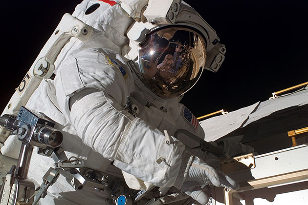 Astronaut Rick Mastracchio participates in a 5-hour, 28-minute spacewalk, as construction and maintenance continue on the International Space Station. (Photo/NASA)