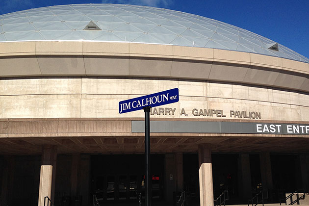 The tribute to Coach Calhoun concluded with the renaming of Stadium Road as Jim Calhoun Way. (Alexa Biron/UConn Photo)
