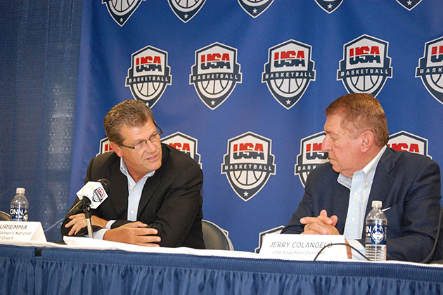 Geno Auriemma, UConn Women's Basketball Head Coach, and Jerry Colangelo, USA Basketball Chairman, at a press conference in Gampel Pavilion on Sept. 6, 20123, announcing that Auriemma will serve as the USA Basketball Women's National Team Head Coach again for the 2016 Olympics. (Kenneth Best/UConn Photo)