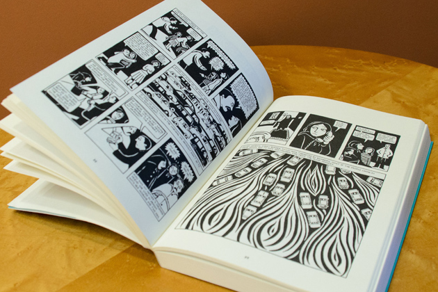Marjane Satrapi's 'Persepolis,' a graphic novel set in Tehran during the Islamic Revolution and the Iran-Iraq War, was selected as the 2013-14 UConn Reads book. (Ariel Dowski '14 (CLAS)/UConn Photo)