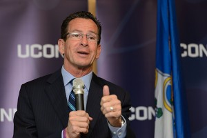 Governor Dannel P. Malloy speaks during a ceremony to commemorate the final approval of Next Generation Connecticut legislation held at the Information Technologies Engineering Building on Oct. 21, 2013. (Peter Morenus/UConn Photo)