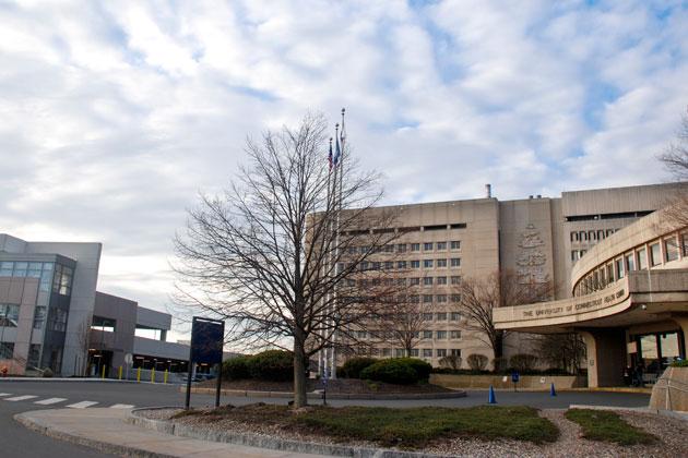 The main Health Center hospital entrance and Garage 3 on April 16, 2013. (Janine Gelineau/UConn Health Center Photo)