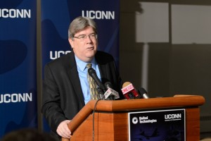UTC's senior vice president of science and technology J. Michael McQuade, addressed the gathering. (Peter Morenus/UConn Photo)
