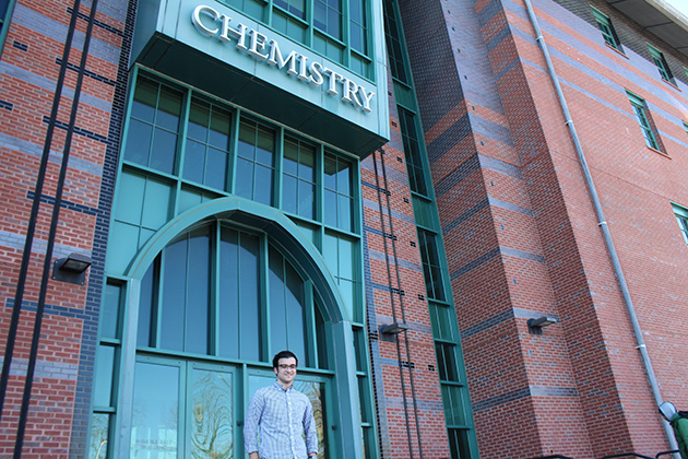 Casey Camire, a senior chemistry major and mathematics minor, learned to market his analytical and problem-solving skills for a research internship at Sun Products Corporation. (Christine Buckley/UConn Photo)