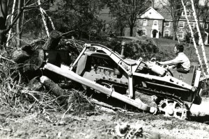 On campus clean up following the hurricane of 1938 (Photo courtesy of the Dodd Center archives)