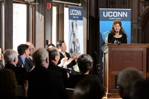 UConn President Susan Herbst speaks at an event to announce the launch of the Institute for Community Resiliency and Climate Adaptation held on Jan. 24, 2014 at the Branford House at the University of Connecticut Avery Point campus in Groton. (Peter Morenus/UConn Photo)