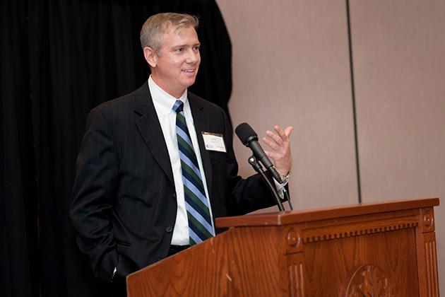 Jim Trainor '93 MPA spoke at the 2012 Alumni Weekend reception on campus.