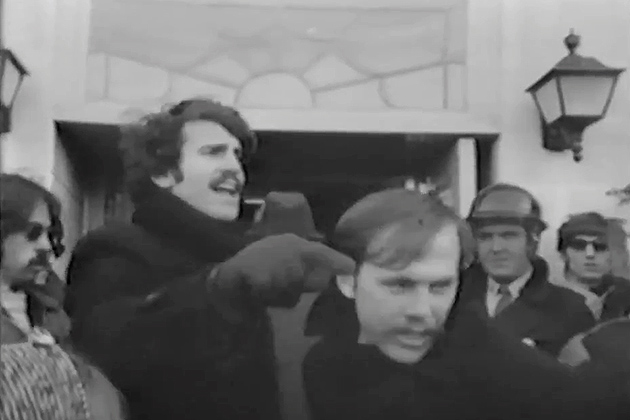 In 1968, students and faculty protested on-campus employment recruiting by Dow Chemical Co. because the company manufactured the chemical weapon napalm used by the U.S. military during the Vietnam War. The behind-the-scenes struggle between President Homer Babbidge and the UConn protesters was the subject of a 1969 public television documentary. (Photo from Diary of a Student Revolution/National Educational Television)