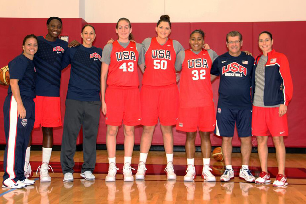 There was a Huskies reunion in Las Vegas last October as USA Basketball invited the nation's top women's players to compete for consideration to join the USA National Team led by head coach Geno Auriemma that hopes to qualify for the 2016 Olympic Games in Brazil. From left: 2011 U19 USA head coach Jennifer Rizzotti '96 (CLAS) of the University of Hartford, Tina Charles '10 (CLAS) of the Connecticut Sun, and Diana Taurasi '05 (CLAS) of the Phoenix Mercury, Breanna Stewart '16 (CLAS), Stefanie Dolson '14 (CLAS), Kaleena Mosqueda-Lewis '15 (CLAS), Geno Auriemma, and Sue Bird '02 (CLAS) of the Seattle Storm. (Photo by Andrew Bernstein/USA Basketball for UConn)