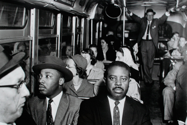 """Ernest C. Withers. """"First Desegrated Buss Ride,"""" 1956. The William Benton Museum of Art."""
