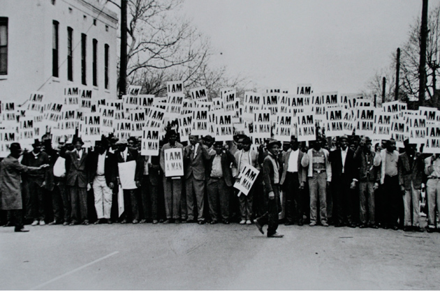 """Ernest C. Withers. """"I Am a Man,"""" 1968. The William Benton Museum of Art."""