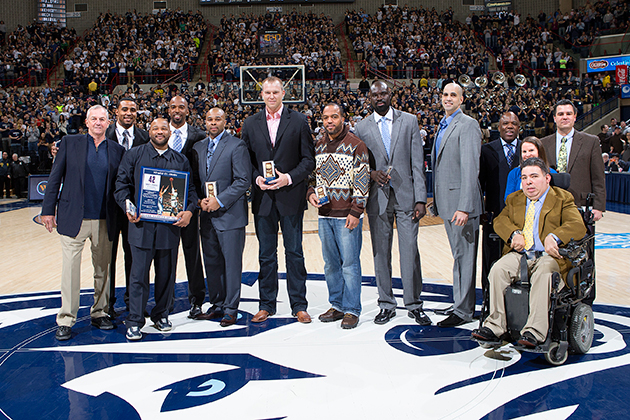 Those honored included former players Souleymane Wane, and Beau Archibald, members of the coaching staff at the time Karl Hobbs and Tom Moore, as well as former student managers. (Steve Slade '89 (SFA) for UConn)