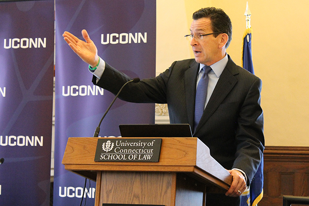 Gov. Dannel P. Malloy addresses a group of state and university water experts at a conference held Feb. 3 at the Law School to discuss strategic planning for the state's water resources. (Bianca Slota/UConn Photo)