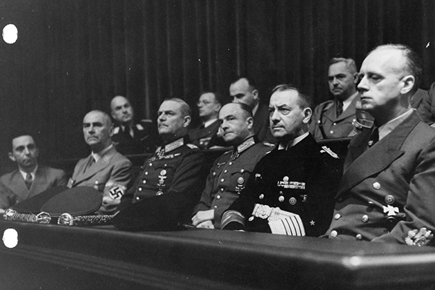 Defendants at the International Military Tribunal at Nuremberg. (Thomas J. Dodd Papers, Archives & Special Collections at the Thomas J. Dodd Research Center, University of Connecticut Libraries)
