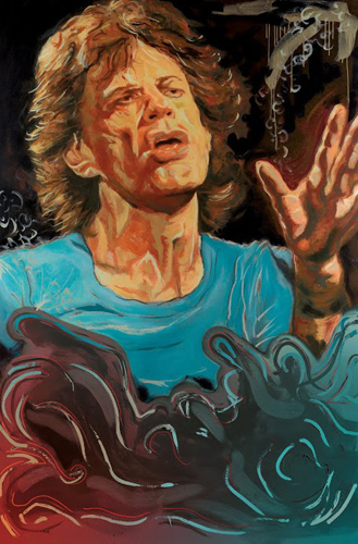 Painting on canvas by Ronnie Wood - Blue Smoke Suite - Mick Jagger (Photo courtesy of Washington Green Fine Art, UK)