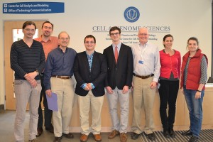 Connecticut Science and Engineering Fair award winners tour UConnÕs Center for Cell Analysis and Modeling (CCAM). From left, CCAMÕs Ion Moraru, Michael Blinov, Leslie Loew, science fair award winners Connor Weiss and Ethan Petno, CCAMÕs John Carson, Cibele Falkenberg and Sofya Borinskaya. (Carolyn Pennington/UConn Health Center Photo)