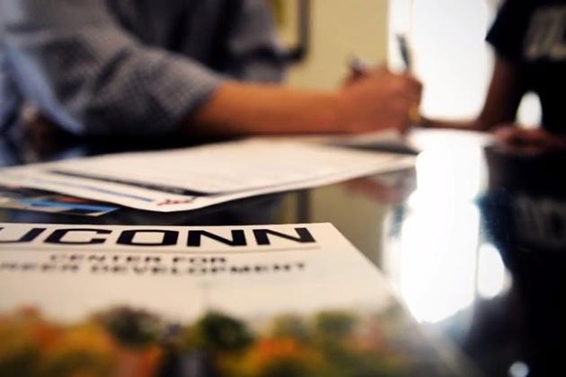 A counseling session at the UConn Center for Career Development. (Elizabeth Caron/UConn Photo)