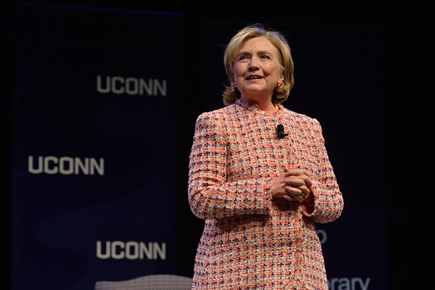 Hillary Clinton gives the address during The Edward Fusco Contemporary Issues Forum held at the Jorgensen Center for the Performing Arts on April 23, 2014. (Peter Morenus/UConn Photo)