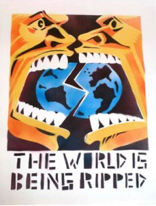"""""""The World is Being Ripped,"""" by Seth Tobocman, was originally spray painted on the sidewalks of New York City's Lower East Side in the 1980s."""