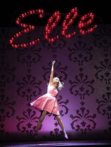 Elle Woods (Courtney Hammond) takes center stage in Connecticut Repertory Theatre's production of Legally Blonde: The Musical. (Gerry Goodstein for UConn)