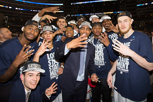 The UConn men's basketball sealed a win over Kentucky last night and claimed the program's fourth national title. (Steve Slade '89 (SFA) for UConn)
