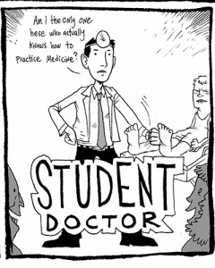 """Second-year medical student Jason Bitterman contributed his comic strip """"Student Doctor B.A."""" to the inaugural issue of """"Anastomoses."""""""