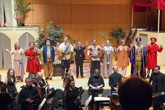 Eric Rice, head of the Department of Music (center), with the performers and musicians of Mozart's 'The Abduction from the Seraglio' during a previous Connecticut Early Music Festival event. (Photo provided by the Connecticut Early Music Festival)