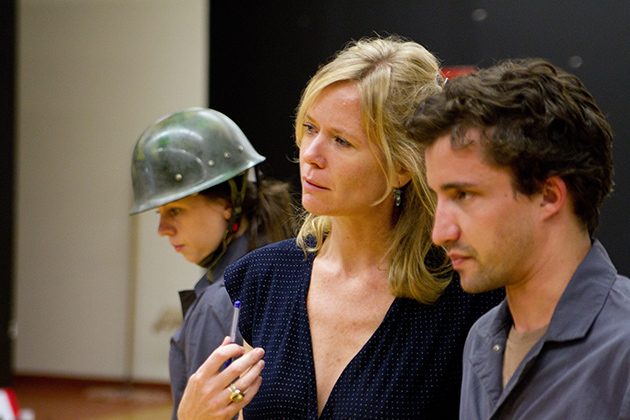 "Helene Kvale, center, with fine arts students Kate Shine and Nathan Caron during a rehearsal for a 2010 performance of ""The Parkville Project"" at The Playhouse on Park in West Hartford. (Photo provided by Helene Kvale)"