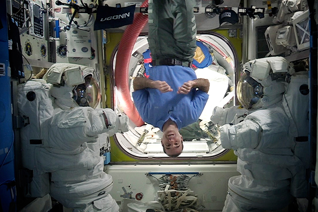 Rick Mastracchio '82 (ENG) brought a new perspective to his Commencement speech, which he delivered to graduates of the School of Engineering from the International Space Station. (Photo courtesy of NASA)