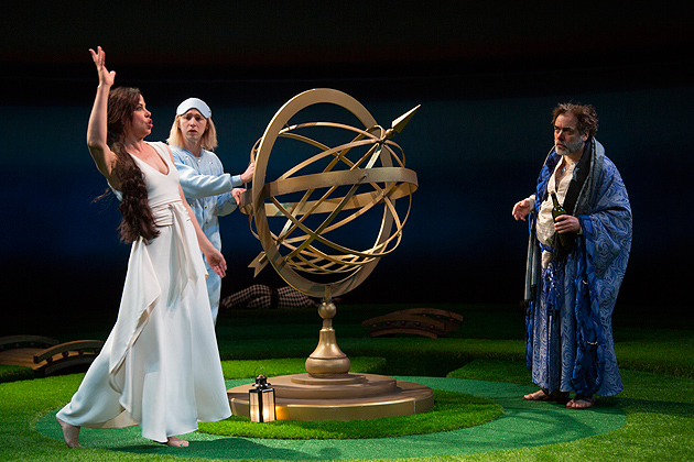 A scene from Shakespeare's 'Twelfth Night,' showing the armillary that's on display in the 'Stagecraft' exhibition. (T. Charles Erickson Photo)