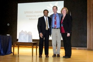 From left, Dr. David Henderson, Dr. Raymond Foley, CAMEL recipient for MOD 2 Homeostasis, and Christine Thatcher.