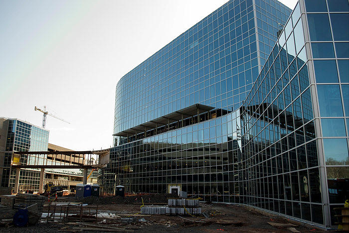 The UConn Health Outpatient Pavilion, eight stories high, will provide a single location for most of the outpatient services available at UConn Health. (Tina Encarnacion/UConn Health Photo)