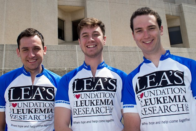 Jonathan Kobles, Gregory Oudheusden and Greg Kirby, who just completed their first year at the UConn School of Medicine, make up this year's Coast to Coast for a Cure cycling team. June 17, 2014. (Tina Encarnacion/UConn Health Photo)