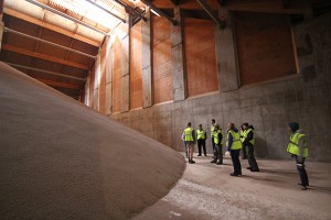 Students saw the inside of a large storage building during a tour of a fertilizer plant at the Farmers Cooperative Company in Farnhamville, Iowa. (Photo courtesy of Tom Morris)