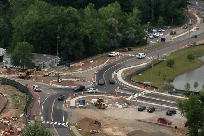 The roundabout under construction will replace the four-way stop at Main Road and Dowling Way in mid-August. (Paul Hudkins for UConn Health)