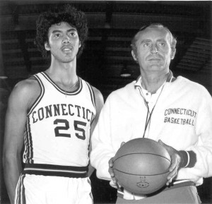 Dee Rowe, right, head coach of men's basketball 1969-70 through 1976-77, with Tony Hanson. (UConn Athletic Communications file photo)