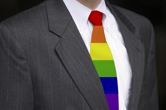 A business executive wearing a gay pride necktie. (iStock Photo)