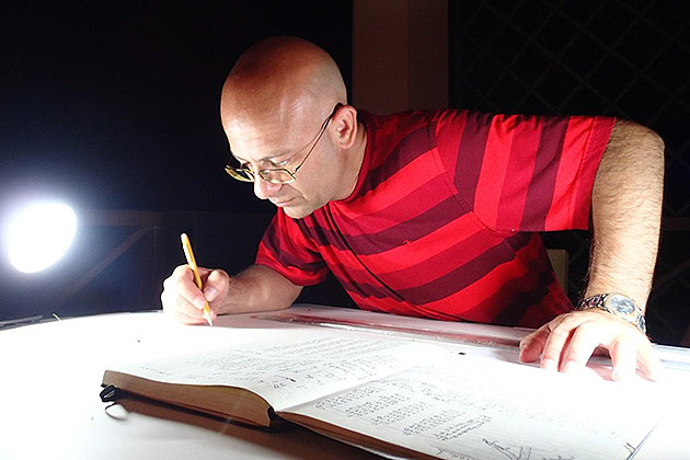 Kroum Batchvarov, assistant professor of maritime archaeology, prepares a site plan for an underwater excavation in Tobago's Rockley Bay in 2013. (Photo from Report on Archaeological Exploration of Rockley Bay, Tobago, by Jason Paterniti)