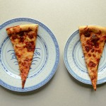 A large plate and a small plate, each with a slice of pizza. (Peter Morenus/UConn Photo)A large plate and a small plate, each with a slice of pizza. (Peter Morenus/UConn Photo)