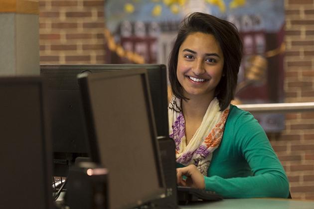 Shemona Singh '18 (ENG) at the Homer Babbidge Library on April 2, 2015. (Peter Morenus/UConn Photo)