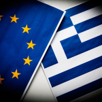 The Eurozone flag overlapping the Greek flag. (iStock Photo)