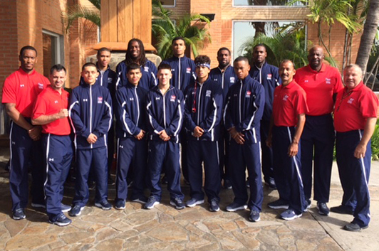 Dr. Cato Laurencin, second from right, in Venezuela with the USA Boxing Elite Men's National Team in August 2015.
