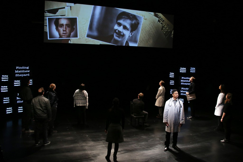 THE LARAMIE PROJECT by Moisés Kaufman and the members of Tectonic Theatre Project onstage in Connecticut Repertory Theatre's Nafe Katter Theatre from October 8-18, 2015. Tickets and Info at crt.uconn.edu. Photo by Gerry Goodstein
