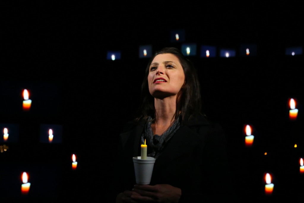 Brandy Burre leads the ensemble of THE LARAMIE PROJECT by Moisés Kaufman and the members of Tectonic Theatre Project onstage in Connecticut Repertory Theatre's Nafe Katter Theatre from October 8-18, 2015. Tickets and Info at crt.uconn.edu. Photo by Gerry Goodstein